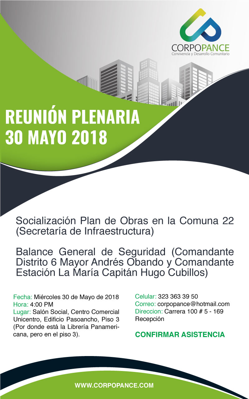 Reunión Plenaria: Socialización Plan de obras Comuna 22